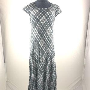 Free People Gray White Check Cotton Maxi Dress